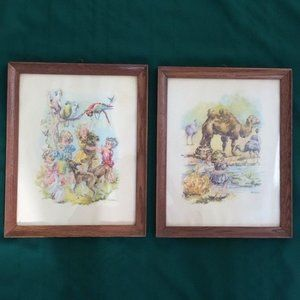 Vintage Framed Prints Artist Corina -Nursery Decor